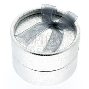 Darčekové balenie - strieborný valec s kvetmi a stužkou