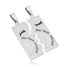 Šperky eshop - Dva prívesky z ocele 316L, obdĺžniky striebornej farby s nápismi a zirkónmi Z46.20