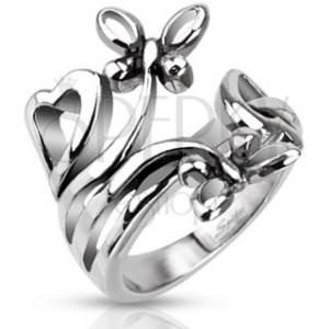 Oceľový prsteň s motívmi sŕdc a motýľov