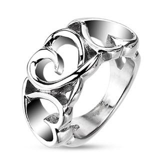 Oceľový prsteň - tri cifrované srdiečka - Veľkosť: 55 mm