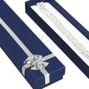 Krabička na darček podlhovastá - modrá, strieborná mašľa