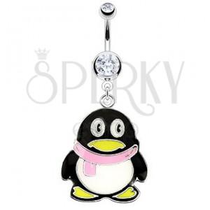 Piercing do pupku - oceľový pinguin, ružový šál