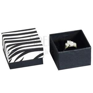 Darčekové balenie na prsteň - krabička, vzor ZEBRA