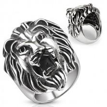 Oceľový prsteň - veľká levia hlava