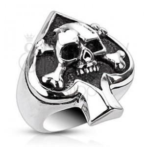 Prsteň z ocele s kartovým symbolom a lebkou