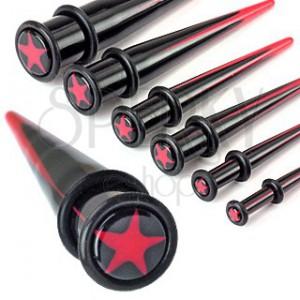 Expander do ucha z akrylu - červená hviezda