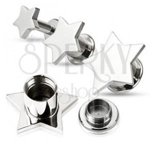 Piercing do ucha - plug z ocele, hladká hviezda