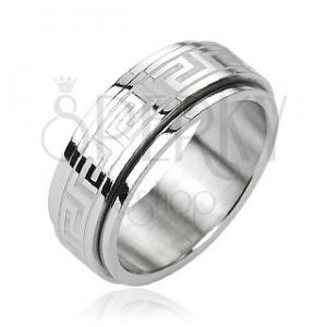 Oceľový prsteň - otáčavý stred, grécky kľúč, strieborná farba
