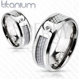 Titánový prsteň - biely sieťovaný vzor so zirkónom