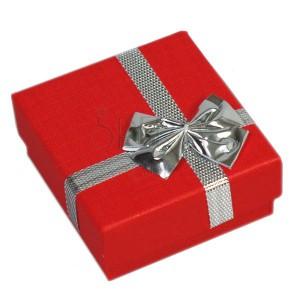 Darčeková krabička - na prstene, červená, strieborná mašľa