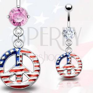 Piercing do pupka - symbol mieru, americká vlajka
