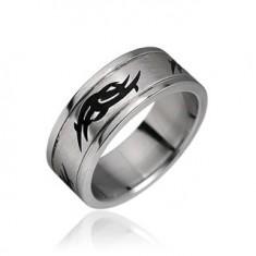 Šperky eshop - Prsteň z chirurgickej ocele - tribal motív K15.5 - Veľkosť: 67 mm