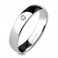 Šperky eshop - Oceľový lesklý prsteň - číry zirkón, 4 mm K15.8 - Veľkosť: 48 mm