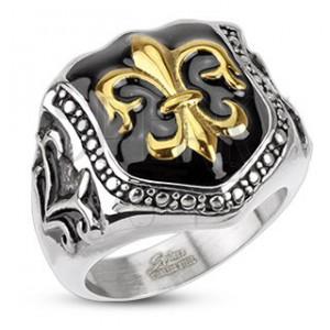 Prsteň z chirurgickej ocele - kráľovský znak, štít