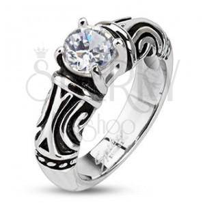 Oceľový dekoratívny patinovaný prsteň so zirkónom
