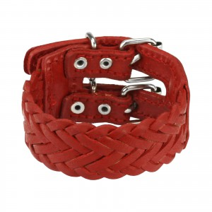 Kožený náramok - mohutný červený pletenec