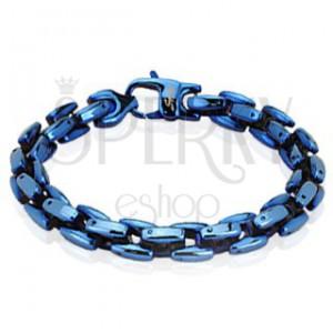Mohutný lesklý náramok z oceľových článkov, modrý