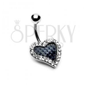 Piercing do pupka - karbónové srdce so zirkónmi po obvode