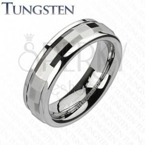 Tungstenový prsteň - otáčavý stred, obdĺžniky