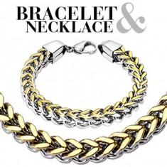 Šperky eshop - Sada - dvojfarebný oceľový náramok a náhrdelník, dva rady jednoduchých očiek Q12.20