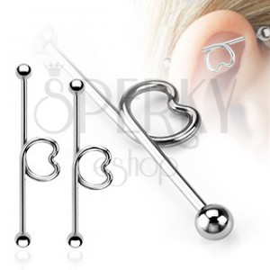 Oceľový piercing do ucha - činka so srdcom a guličkami