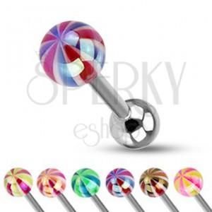 Piercing do jazyka - farebná gulička s perleťovým leskom
