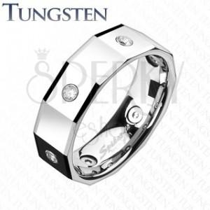 Hranatý volfrámový prsteň so štvorcami a zirkónmi