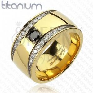 Prsteň z titánu zlatej farby so zirkónovými polmesiacmi