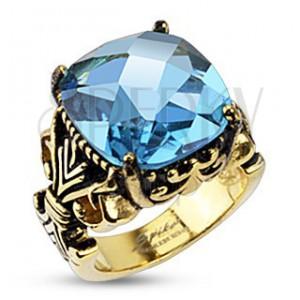 Oceľový prsteň s kráľovským motívom a veľkým zirkónom