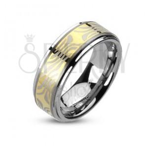 Tungstenový prsteň s pruhom zlatej farby a zebrovým motívom