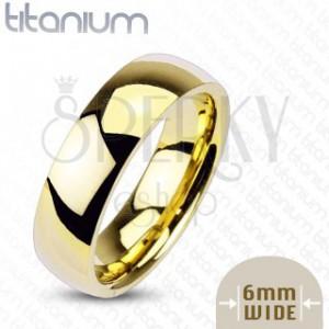 Titánová obrúčka zlatej farby, 6 mm