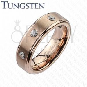 Wolfrámový prsteň vo farbe ružového zlata - tri zirkóny