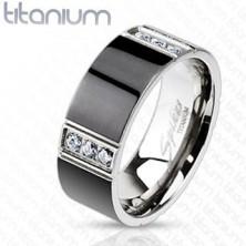 Prsteň z titánu predelený štyrmi radmi čírych zirkónov