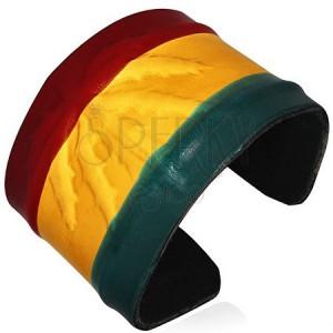 Kožený RASTA náramok - vystúpená marihuana, farby Jamaiky