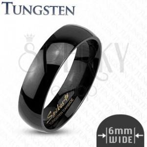 Tungstenový hladký čierny prsteň, 6 mm