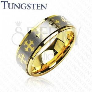 Wolfrámový prsteň s krížikmi a  pásom striebornej farby