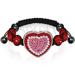 Shamballa náramok - červenoružové zirkónové srdce a korálky