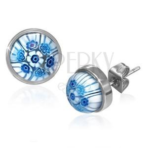 Oceľové puzetky s modro-bielymi sklenenými kvetmi