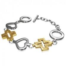 Oceľový náramok kruh, srdce a kríž zlatej farby