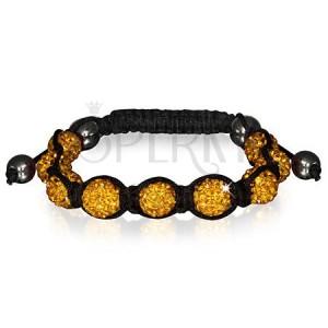 Náramok Shamballa - trblietavé korálky zlatej farby, hematitové guličky