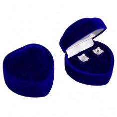 Šperky eshop - Darčeková krabička na náušnice - tmavomodré zamatové srdce Y26.4
