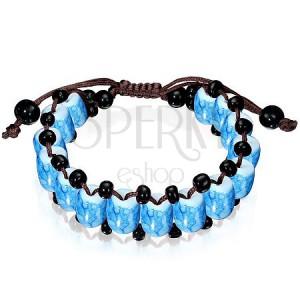 Energetický náramok - Shamballa modré mramorovo sfarbené korálky
