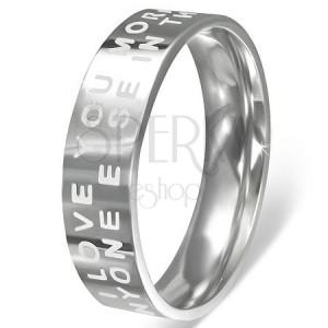 Oceľový prsteň - lesklý povrch so zamilovaným nápisom
