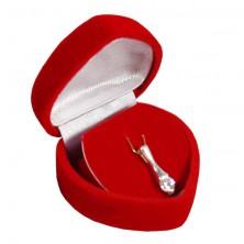 Srdiečková krabička na prívesok - červený zamatový povrch