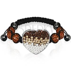 Shamballa náramok so srdcom - čokoládovohnedé zirkónové korálky
