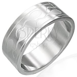 Oceľový prsteň so spermiami a dvoma pásikmi