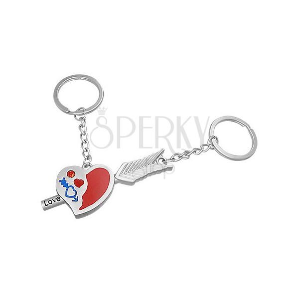 Prívesky na kľúče pre pár - srdce so zirkónom a šíp s nápisom Love ... a8a91dfeb1d