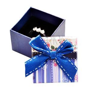 Krabička na prsteň - modré pásiky, ružičky a mašľa