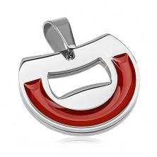 Prívesok z chirurgickej ocele, polkruh s tehlovo červenou glazúrou
