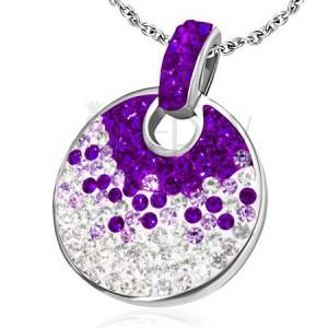 Okrúhly prívesok z ocele - trblietavé zirkóniky, fialovo číre
